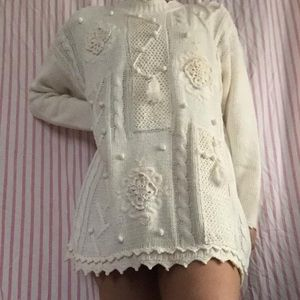 Dresses & Skirts - Vintage white knit oversized sweater dress